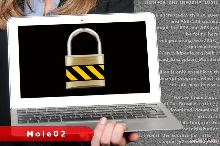 Afbeelding van het Mole02-gijzelsoftware-virus