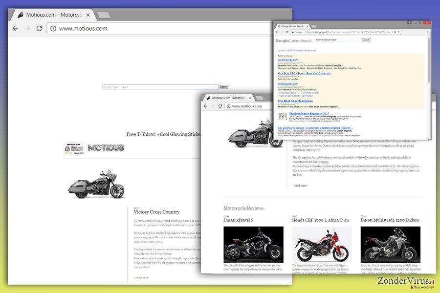 Afbeelding van het Motious.com-virus