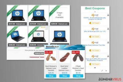 Voorbeeld van advertenties van MyCouponize