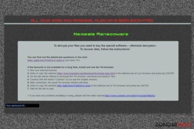 De losgeldbrief die wordt afgeleverd bij het Nemesis-virus.