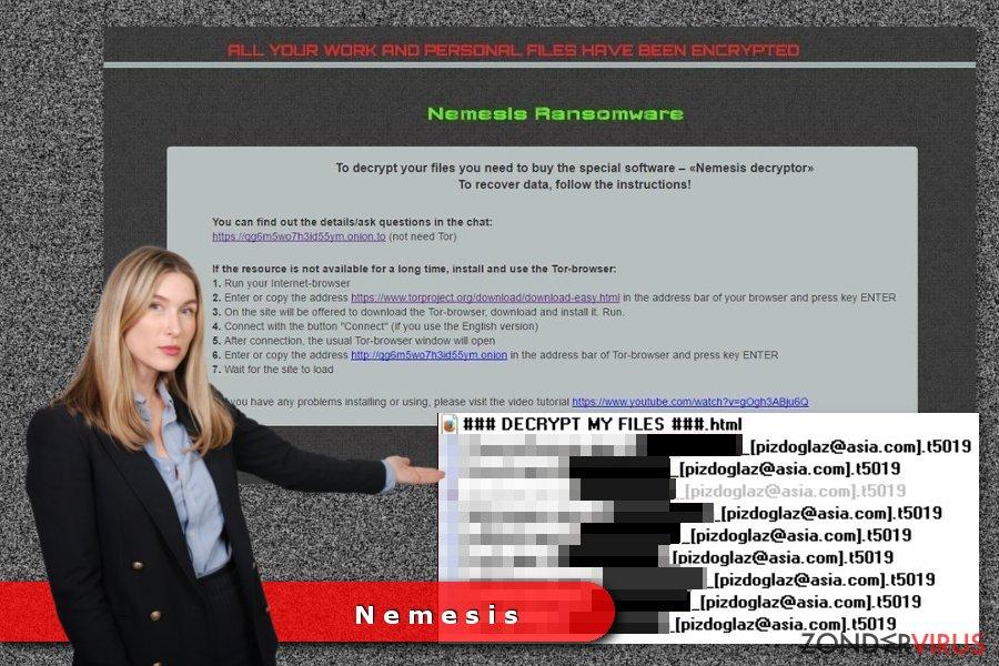 Voorbeeld van het Nemesis gijzelsoftware-virus