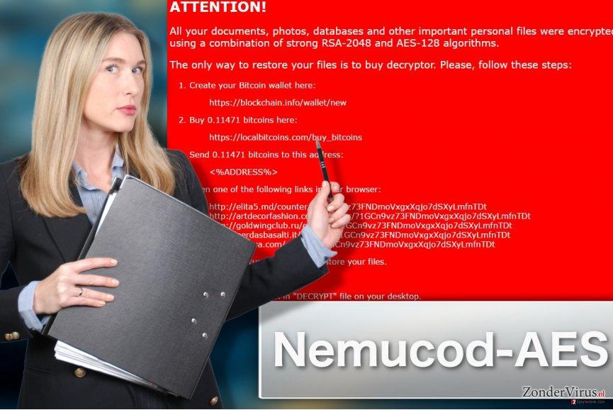 Afbeelding van het Nemucod-AES gijzelsoftware-virus