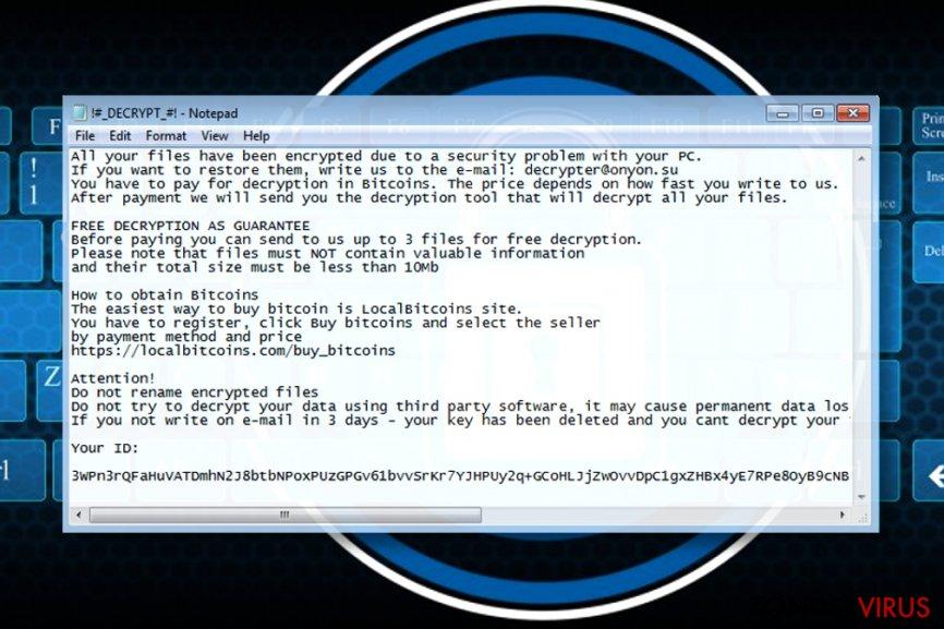 Losgeldbrief van de OnyonLock-gijzelsoftware
