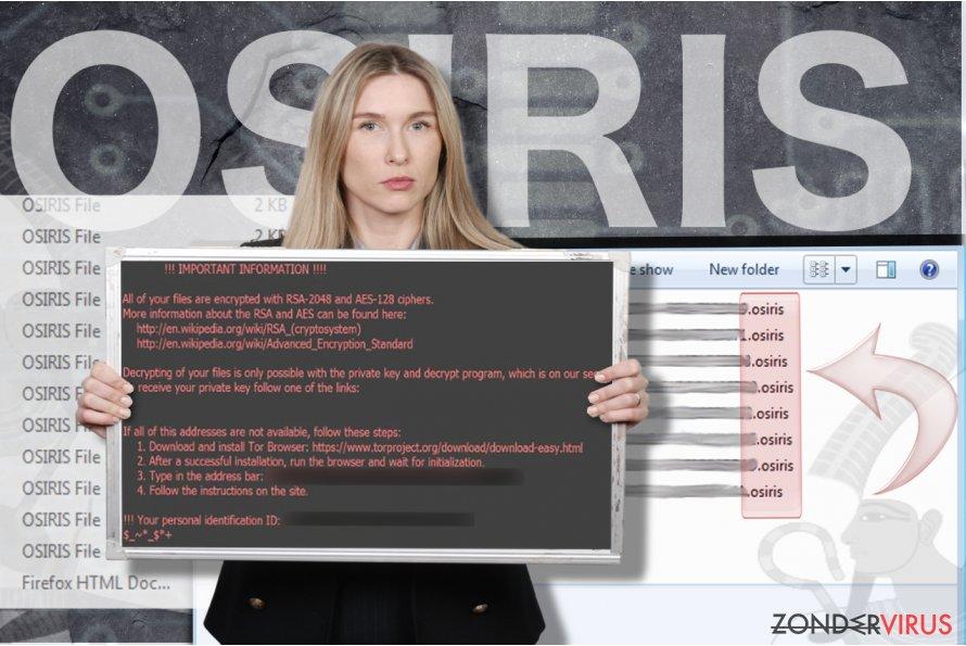 Osiris ransomware virus snapshot