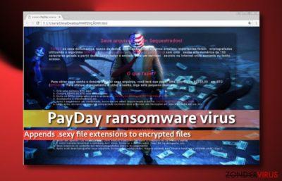 Screenshot van de losgeldbrief van het PayDay-virus