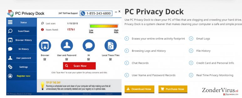 PC Privacy Dock snapshot