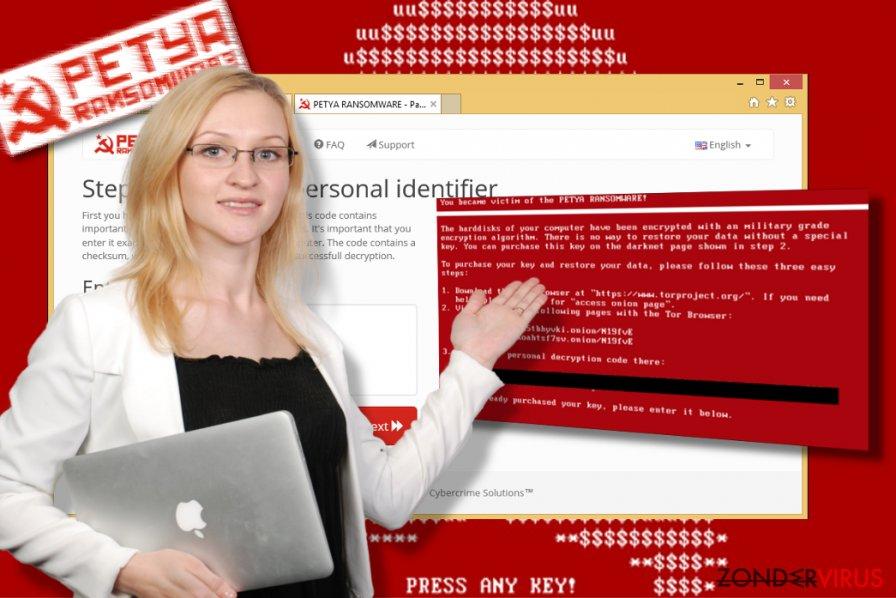 Screenshot van het Petya-virus