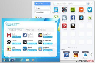 Screenshots van de Pokki-app