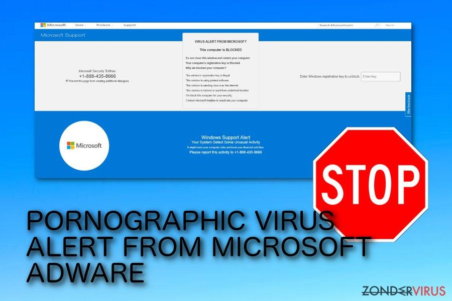 PORNOGRAFISCH VIRUS WAARSCHUWING VAN MICROSOFT pop-up scam