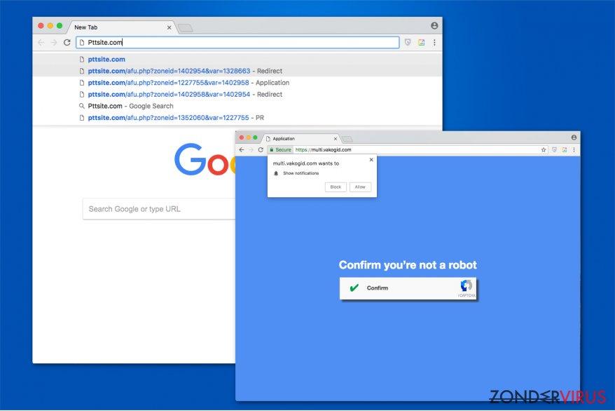 Afbeelding van het Pttsite.com omleidingsvirus