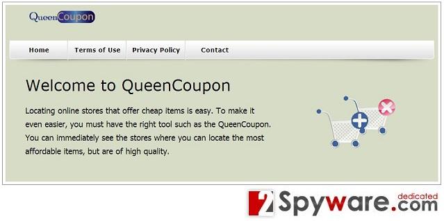 QueenCoupon adware snapshot