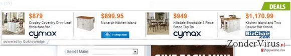 """Ads by Quiknowledge"" virus snapshot"