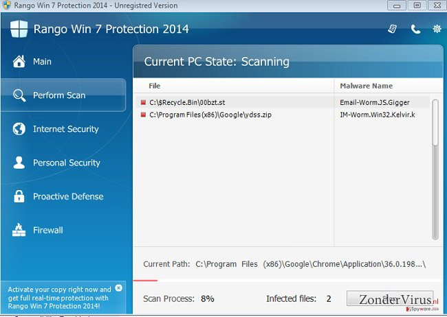 Rango Win 7 Antivirus 2014 snapshot