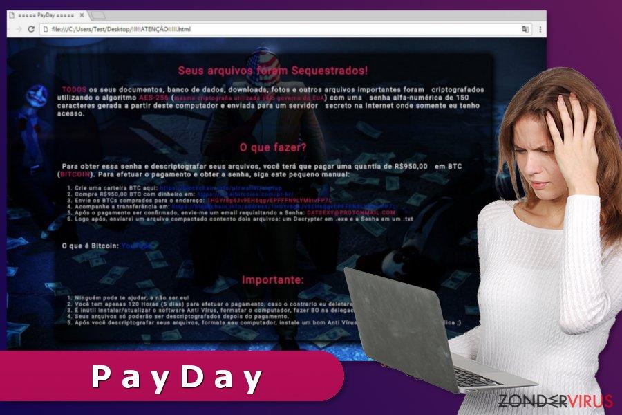De losgeldbrief van het PayDay gijzelsoftware-virus