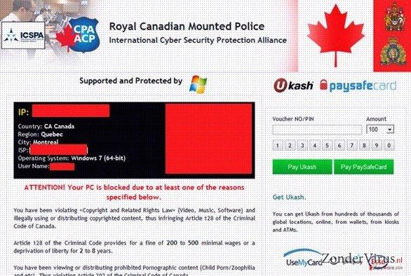 Royal Canadian Mounted Police Ukash virus snapshot