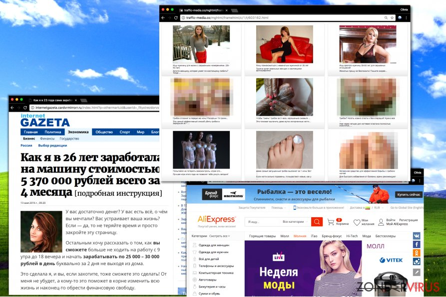 Russische pop-up advertenties