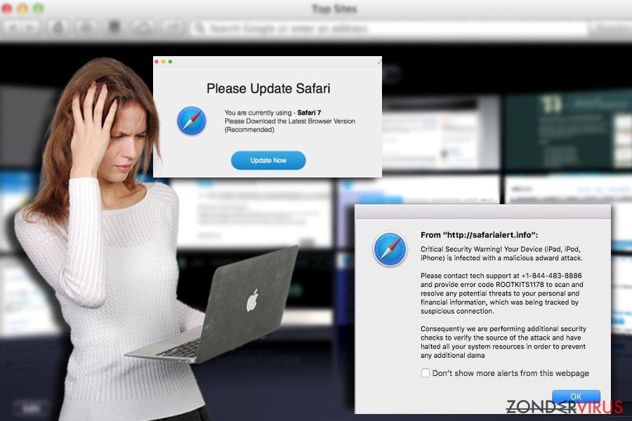 Voorbeeld van het Safari-omleidingsvirus