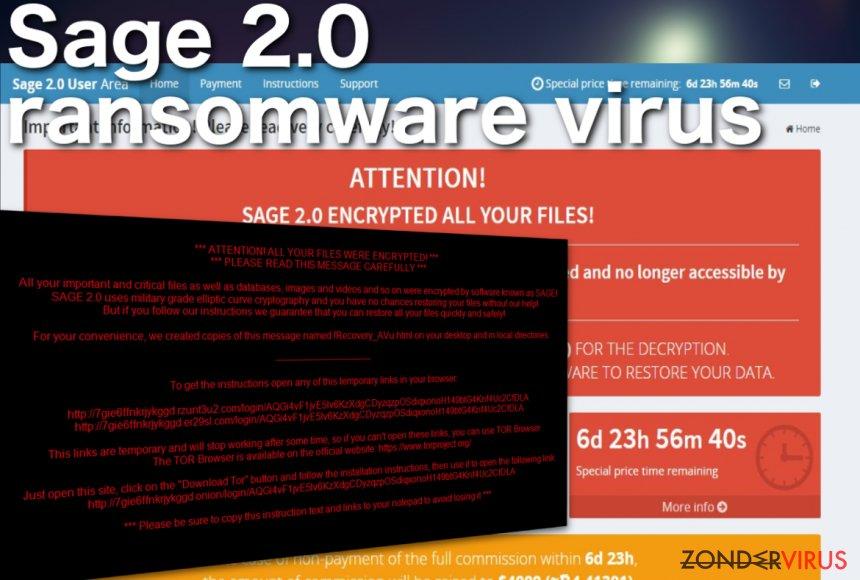 Schermafbeelding van het Sage 2.0 ransomware virus