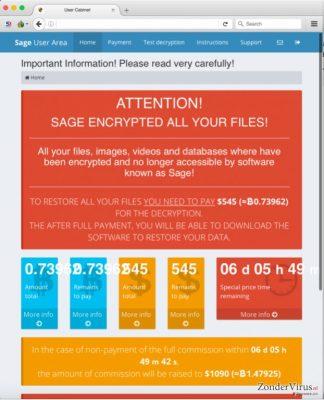 De betalingspagina van het Sage-virus