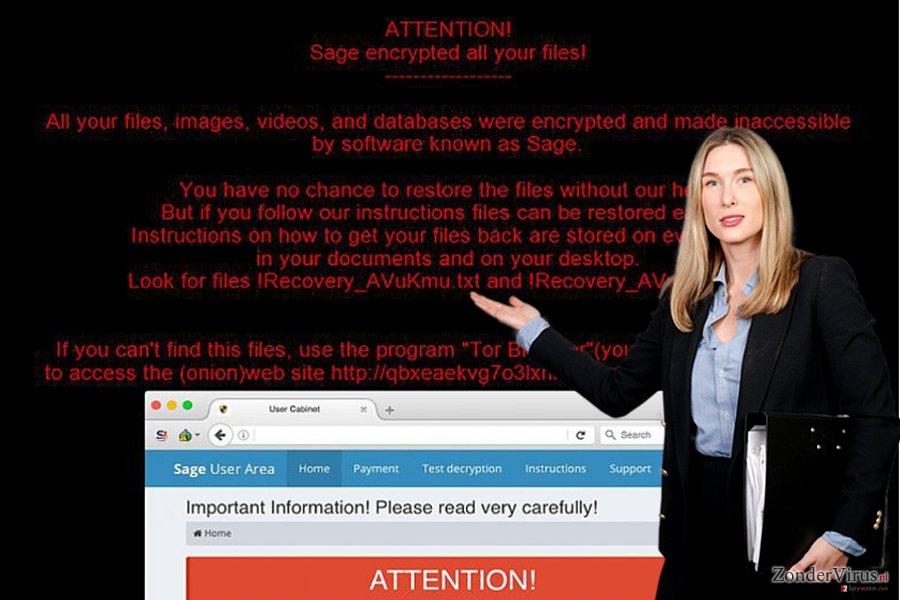 De afbeelding van de Sage-gijzelsoftware