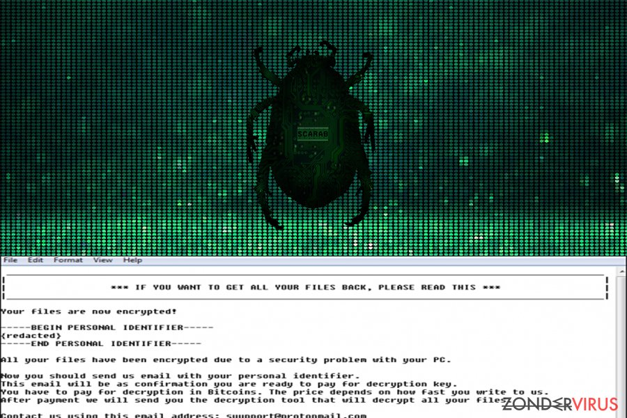 Scarab-gijzelsoftware-virus snapshot