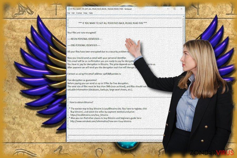 De afbeelding die het tekstbestand van de Scarab-malware toont.
