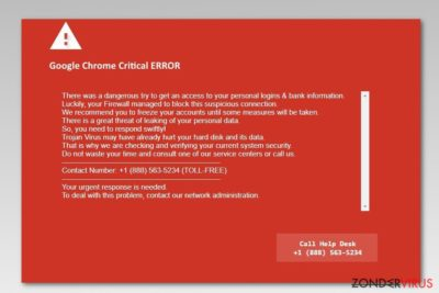 Screenshot van Google Chrome Critical Error
