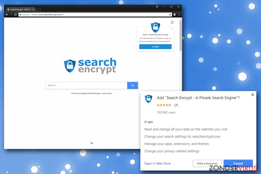 Search Encrypt snapshot