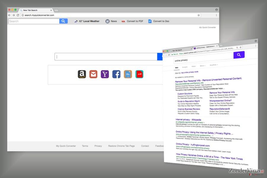 Het voorbeeld van de Search.myquickconverter.com-zoekmachine