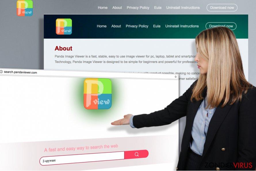 Snapshots van de officiële website van Search.pandaviewer.com