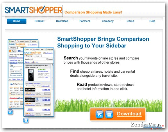 'Ads by SmartShopper' virus snapshot