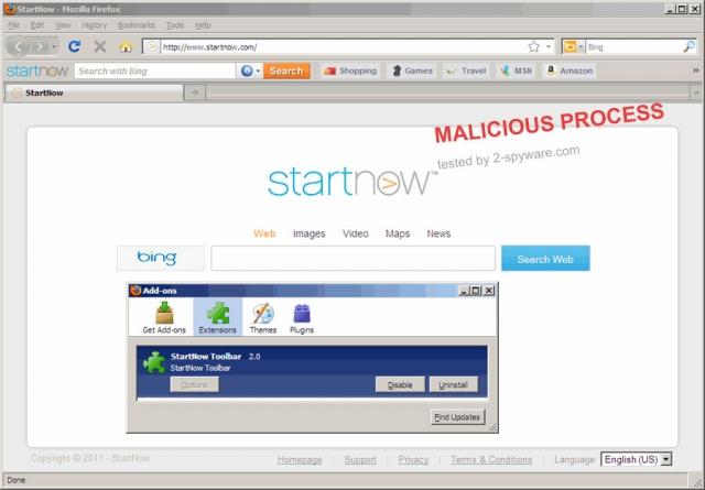 StartNow Toolbar snapshot