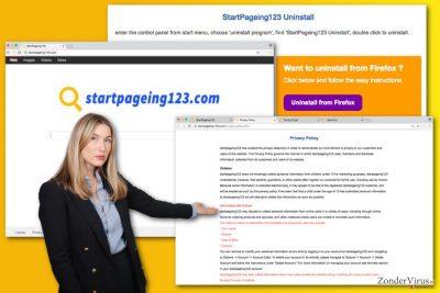 De afbeelding inzake het StartPageing123.com-virus