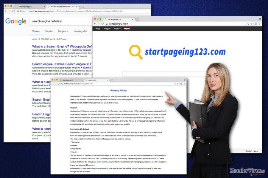Afbeelding van het StartPageing123.virus