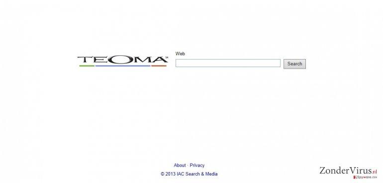 Teoma Web Search snapshot