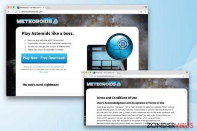 Het Meteoroids-virus op zijn officiële website