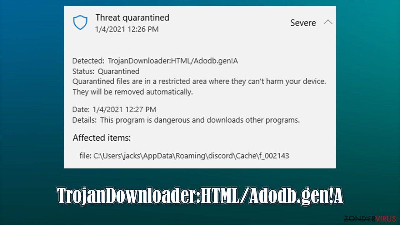TrojanDownloader:HTML/Adodb.gen!A