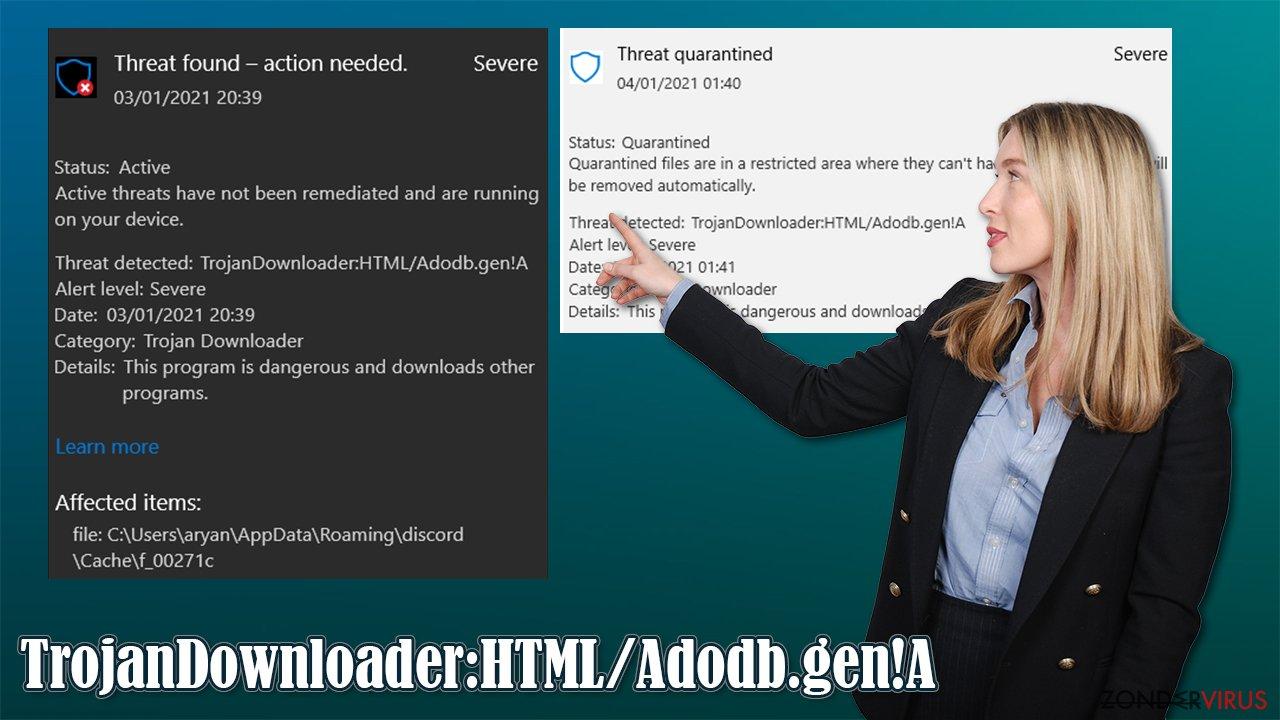Het TrojanDownloader:HTML/Adodb.gen!A-virus