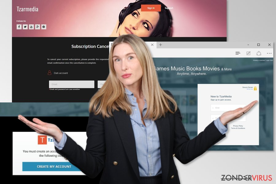 Afbeelding van de TzarMedia scam