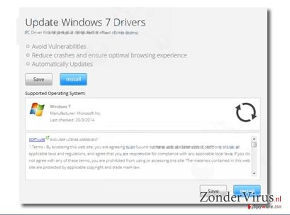 """Update Windows 7 Drivers"" popup ads snapshot"