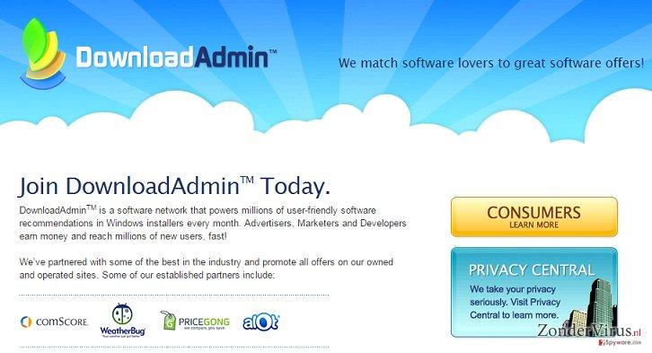UpdateAdmin adware snapshot