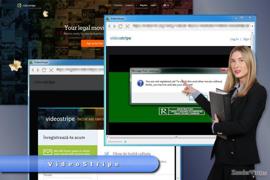 Voorbeeld van de pop-up advertenties van VideoStripe