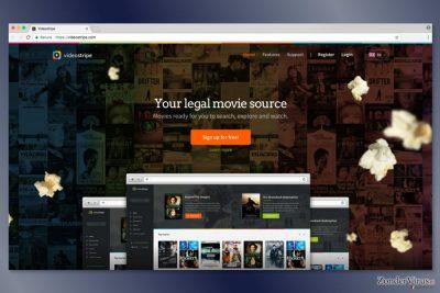 Screenshot van de website van VideoStripe