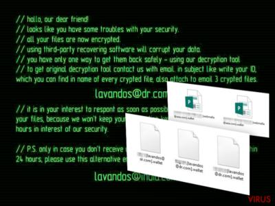 Losgeldbrief van het Wallet-virus