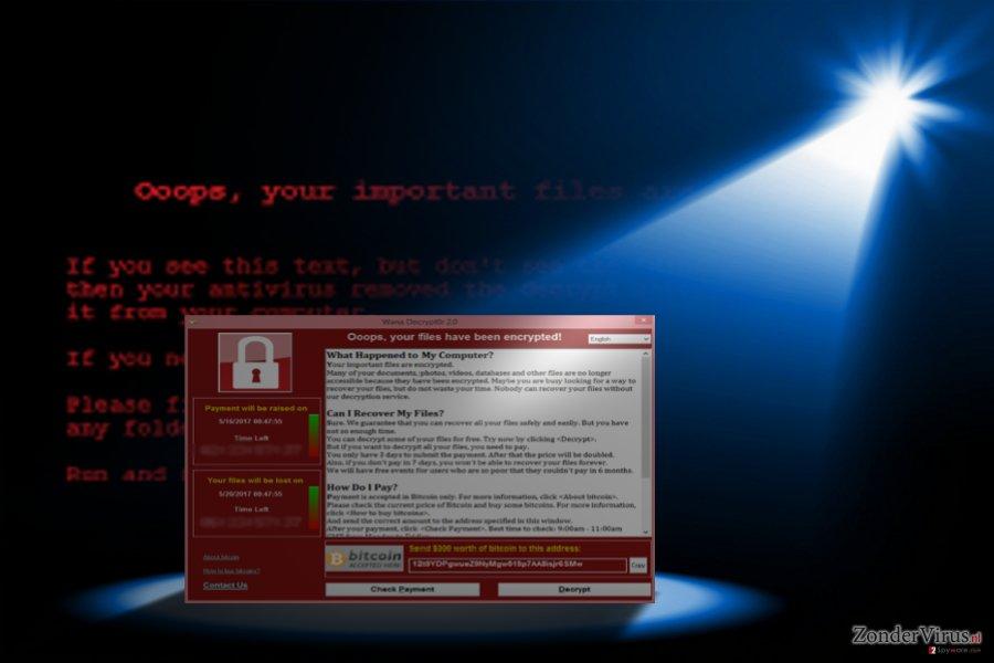 De foto toont het verschijnen van Wannacry 3.0