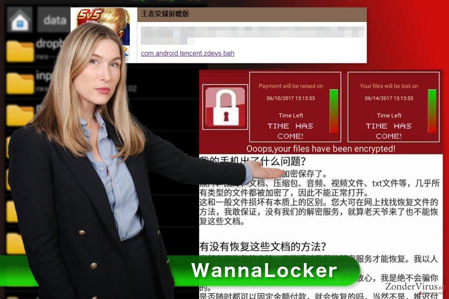De foto van het WannaLocker gijzelsoftware-virus