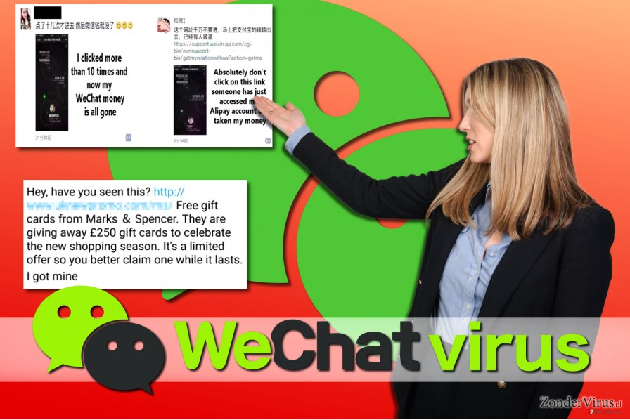 Voorbeelden van het WeChat-virus
