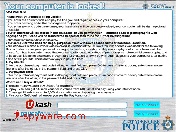 West Yorkshire Police Ukash snapshot