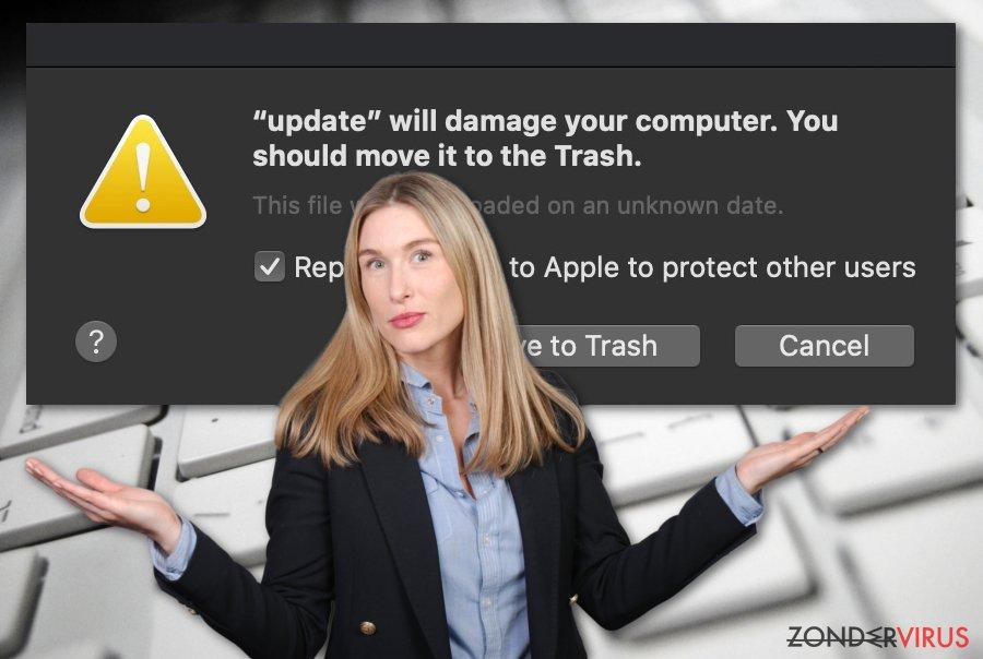 Het virus Zal je computer beschadigen. Je zou het naar de Prullenbak moeten verplaatsen.