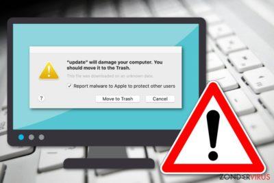 De boodschap Zal je computer beschadingen. Je zou het naar de Prullenbak moeten verplaatsen